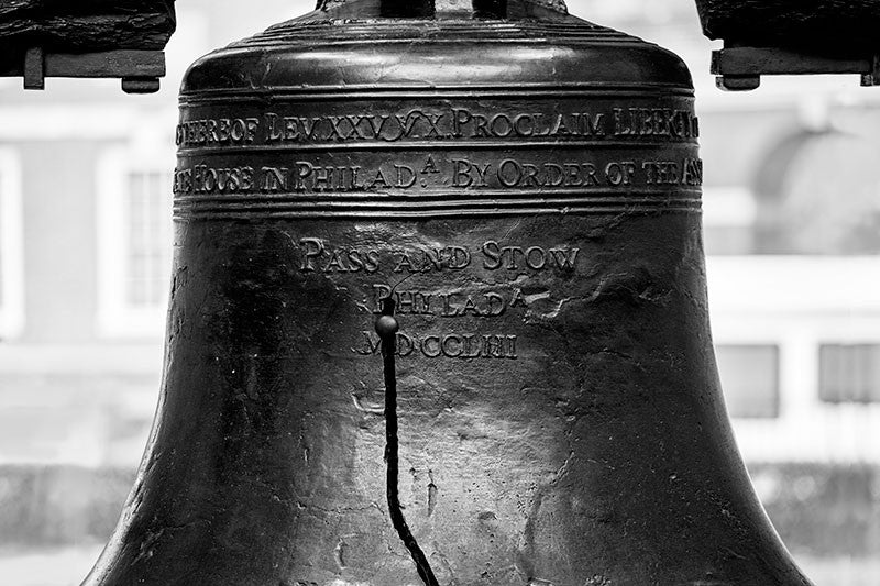 Black and white fine art photograph of a the famously cracked Liberty Bell in Philadelphia.