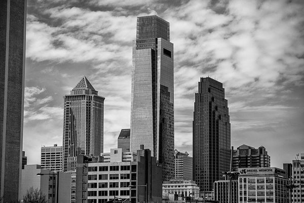 Black and white photograph of downtown Philadelphia skyscrapers.