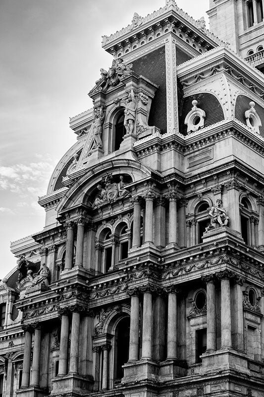 Black and white architectural photograph of the ornate Philadelphia City Hall in downtown Philadelphia.