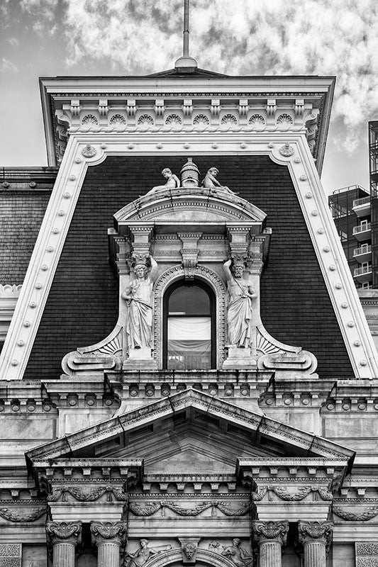 Black and white detail photograph of a window on the Old Philadelphia City Hall in downtown Philadelphia.