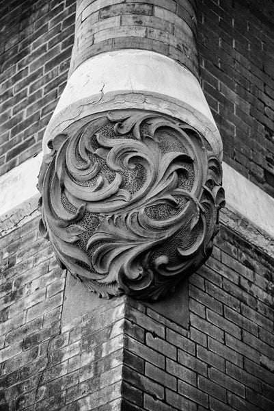 Black and white photograph of a decorative architectural detail on the historic Tulip Street Church in Nashville, Tennessee.