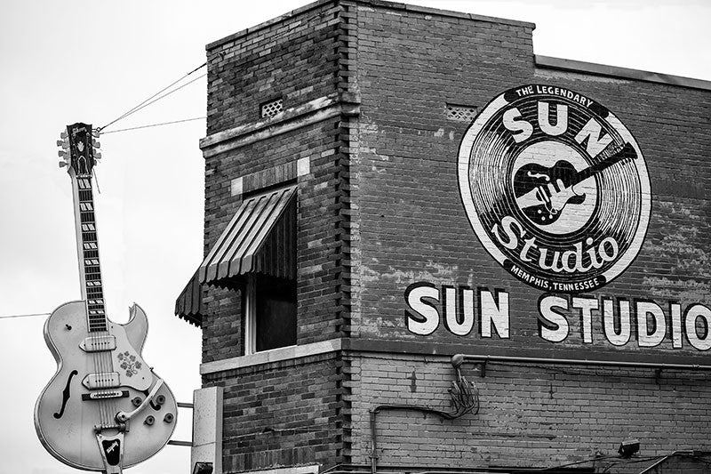 Black and white photograph of the world-famous Sun Studio in downtown Memphis. Sun is famous for discovering Elvis, but also recorded such seminal artists as Howlin' Wolf, Junior Parker, Little Milton, B.B. King, Johnny Cash, Carl Perkins, Roy Orbison, and Jerry Lee Lewis.