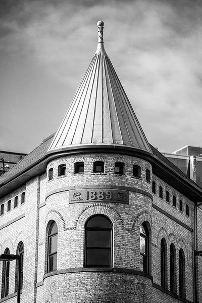 1889 Building - Downtown Madison (A0012016) black and white architectural photograph with cone roof