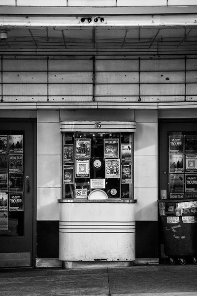 Black and white photograph of the box office of the Majestic Theater in downtown Madison, Wisconsin