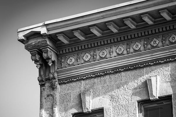 Black and white photograph of an ornate architectural detail in downtown Madison, Wisconsin.