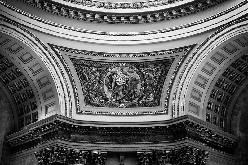 Black and white photograph of one of the beautiful mosaics inside the Wisconsin State Capitol Building downtown Madison, Wisconsin