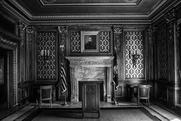 Black and white photograph of a highly ornate and historic meeting room inside the Wisconsin state capitol in Madison, Wisconsin.