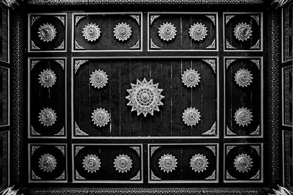 Black and white photograph of the ceiling motif inside the ornate red and gold Thai Pavilion, at Olbrich Botanical Garden in Madison, Wisconsin.