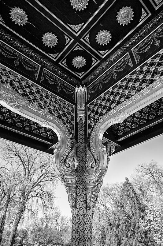 Black and white photograph of the Thai Pavilion, at Olbrich Botanical Garden in Madison, Wisconsin.