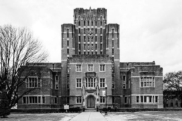 Black and white fine art photograph of the Erastus Milo Cravath Memorial Library on the Fisk University campus in Nashville, Tennessee.
