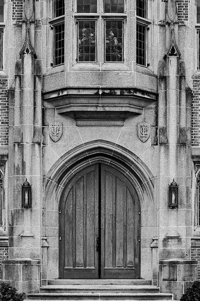 Black and white fine art photograph of the dramatic front doors to the Erastus Milo Cravath Memorial Library on the Fisk University campus in Nashville, Tennessee.