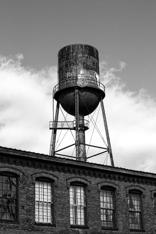 Black and white photograph of the old water tower at the old Marathon Motor Works factory Nashville, Tennessee.