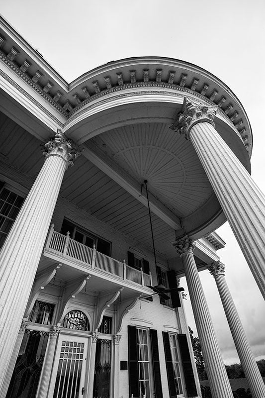 Black and white architectural photograph of the portico of Whitehaven House, an 1860s southern mansion in Paducah, Kentucky.