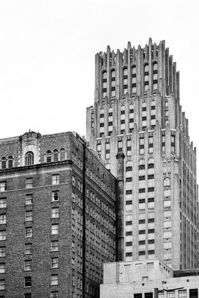 Black and white photograph of the old Gulf Building, now called the JPMorgan Chase Building, built 1929 in downtown Houston.