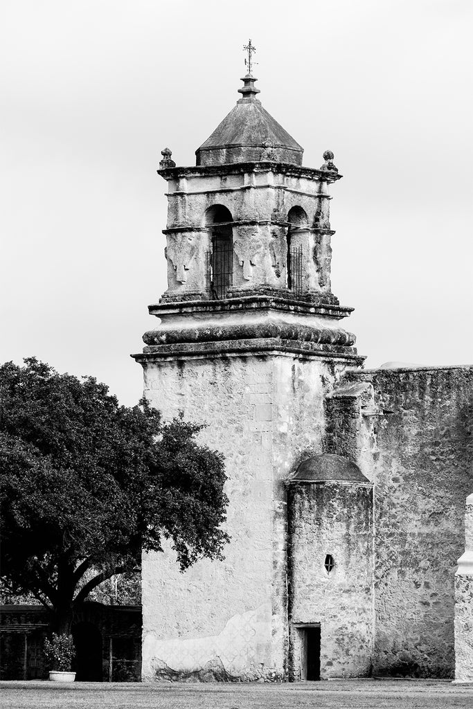 Black and white fine art photograph of the bell tower at the old Spanish Mission San Jose in San Antonio.