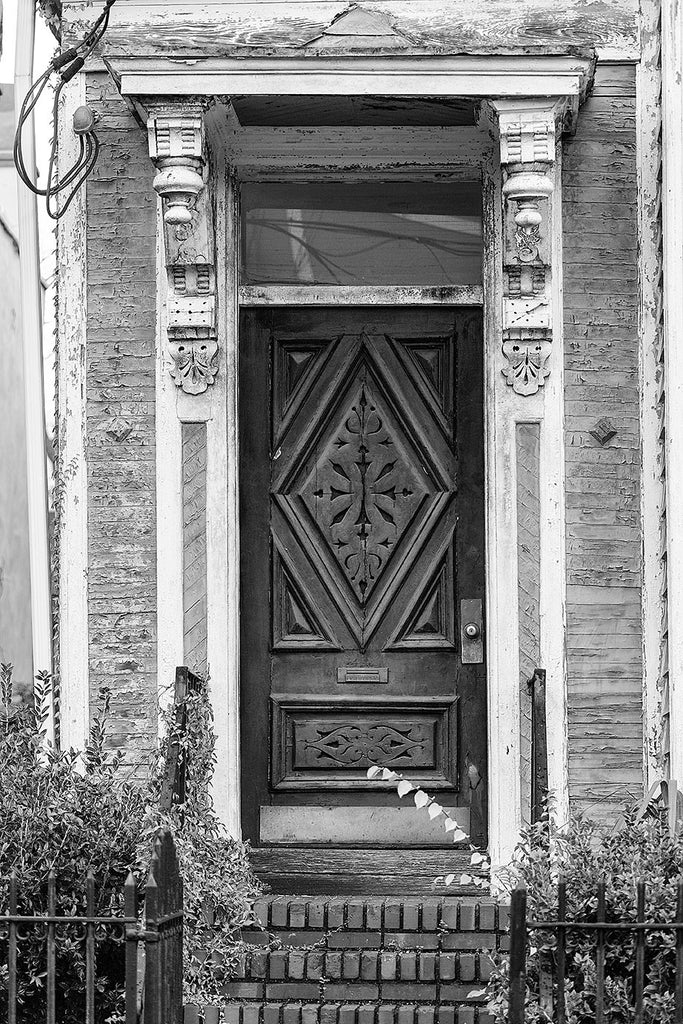 Antique Carved Wooden Door on an Old House in Charleston (A0018718)