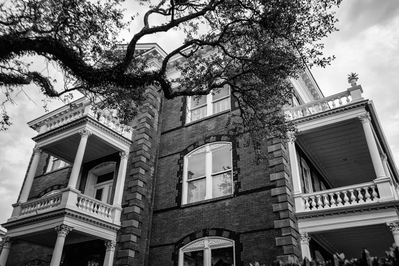 Black and white photograph of Calhoun Mansion, one of the largest of the grand old southern mansions in Charleston, South Carolina.