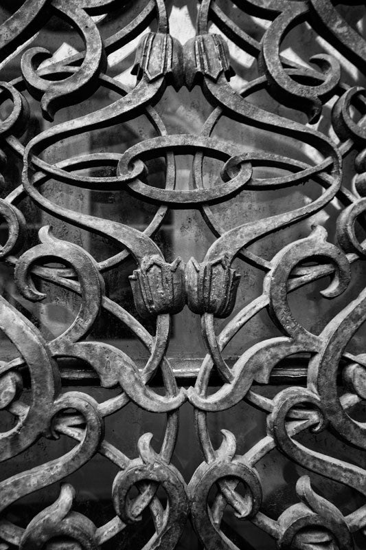 Black and white photograph of the fancy antique iron work on the exterior door and window glass at the old Farmers and Exchange Bank, built in 1853.
