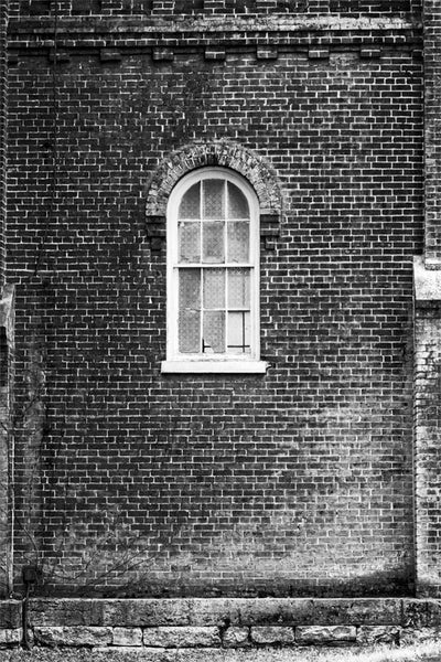 Black and white photograph of an old red brick wall covered in moss, with a broken window.