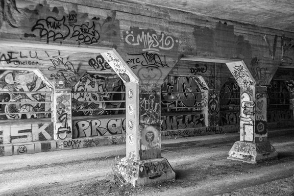 Black and white photograph of the infamous Krog Street Tunnel in the Cabbagetown neighborhood of Atlanta.