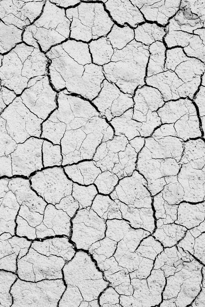 Black and white photograph, abstraction composition of cracked lines in the dry earth.
