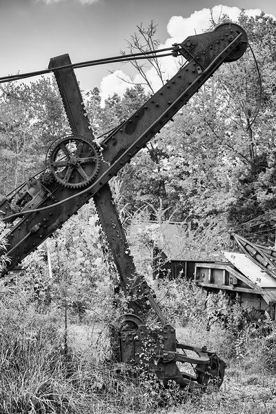 Black and white photograph of an abandoned antique steam shovel rusting among tall weeds and grass in a rural field.