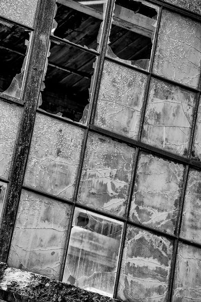 Black and white architectural detail photograph of a bank of windows in an abandoned factory, with some panes missing, and others beautifully textured, cracked, and peeling.
