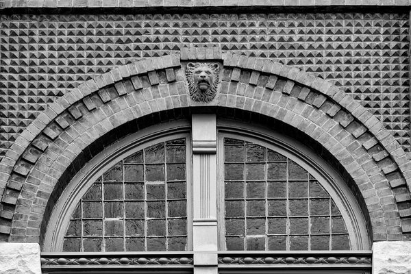 Black and white photograph of a lion's head architectural detail and arched window masonry on a historic building in north Knoxville, Tennessee.