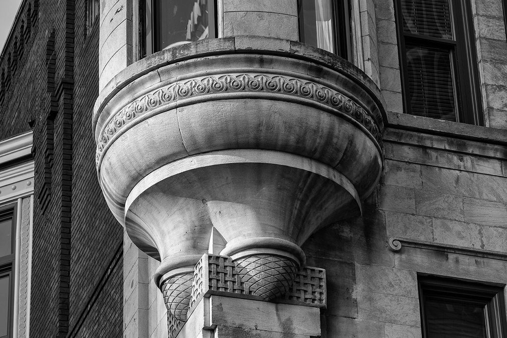 Black and white architectural detail photograph of the Southern Turf saloon building, constructed in 1895 on Cherry Street (now 4th Avenue) in Nashville, Tennessee.
