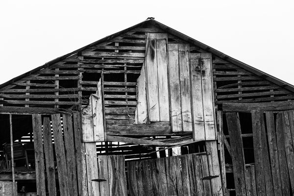 Black and white photograph of an old wooden barn with boards missing to reveal old chairs stored in the hay loft.
