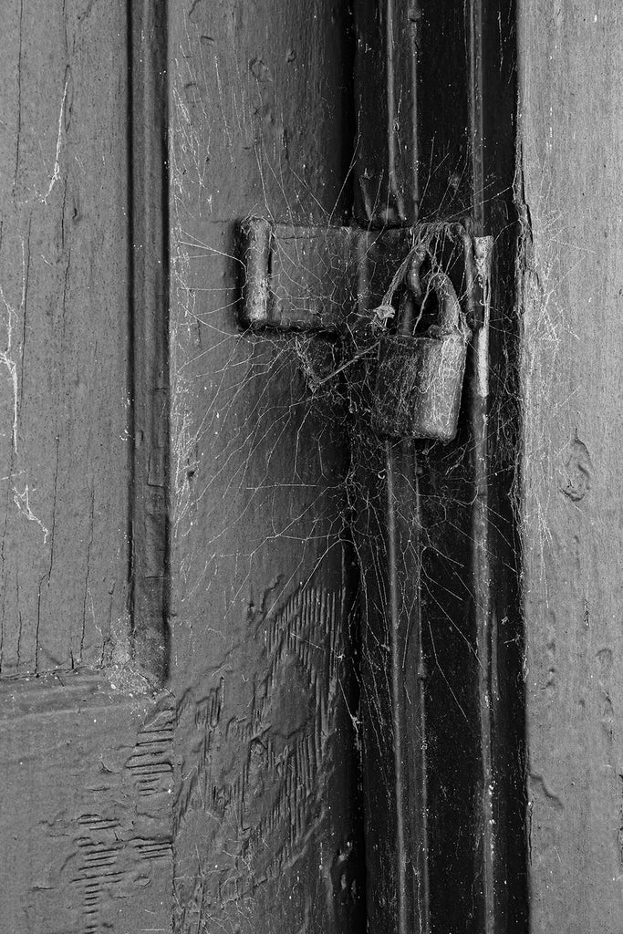 Black and white photograph of an old door painted vivid red, padlocked shut with a beautiful layer of cobwebs around the lock.