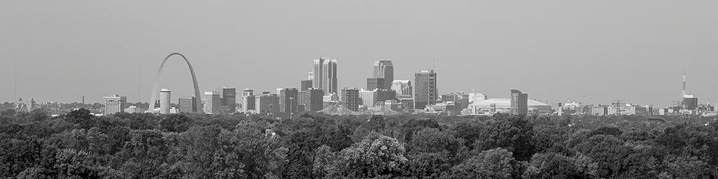 Black and white photograph of downtown St. Louis, Missouri, photographed through a long lens from the top of Monk's Mound at Cahokia Mound Site, at a distance of approximately 8 - 10 miles.