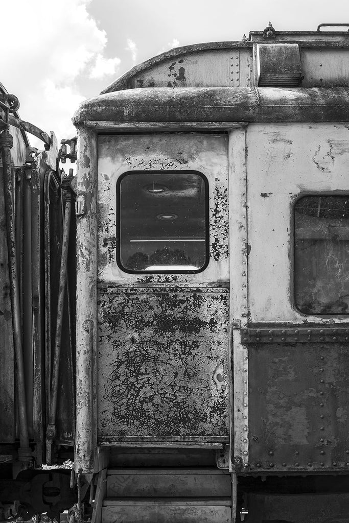 Black and white detail photograph of the exterior door to an antique railroad dining car, featuring an intense cracking pattern in the old paint.