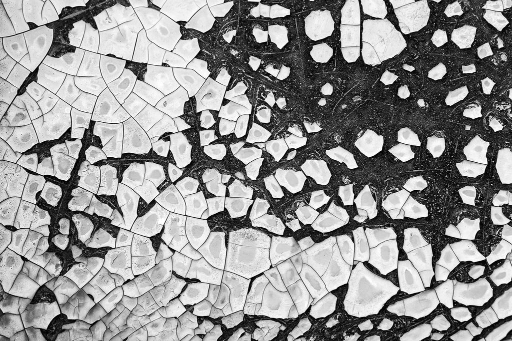 Black and white industrial abstract photograph of chipped and peeling paint on the rusty metal exterior of an abandoned vintage railroad dining car.