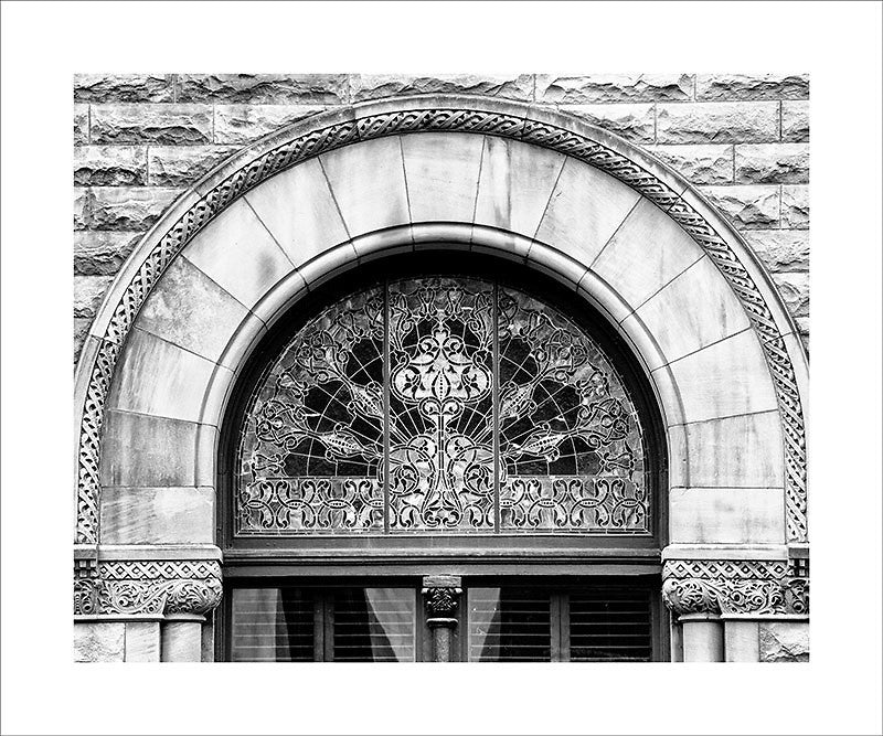 "Black and white photograph of an ornately decorated stain glass window in Nashville's famous Union Station.  This photograph can be seen in the Nashville Room, a private dining room at Nashville's amazing Prima Restaurant in the Gulch neighborhood. At 16"" x 20,"" this is the exact size and finish as the print at Prima -- just add your own top mat and framing.  This photograph is also available in other sizes. Go to the main Nashville gallery."