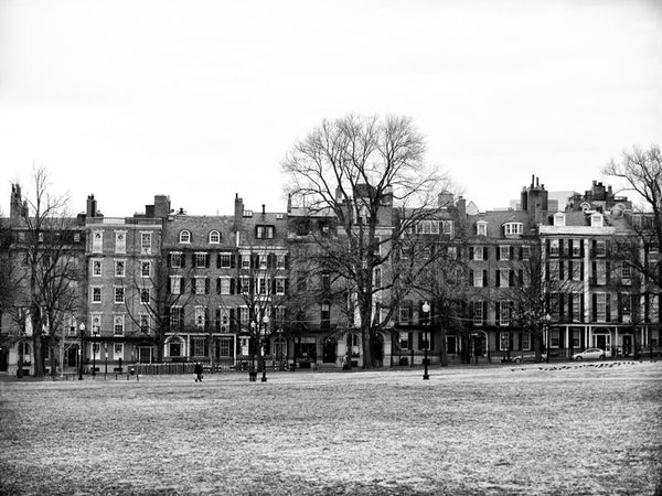 Black and white photograph of historic homes along Beacon Street as seen across Boston Common in downtown Boston.