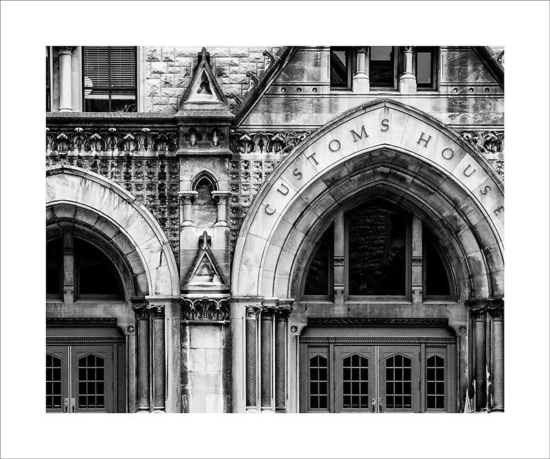 "Black and white architectural detail photograph of the the arches of the historic Customs House in Nashville.  This photograph can be seen in the Nashville Room, a private dining room at Nashville's amazing Prima Restaurant in the Gulch neighborhood. At 16"" x 20,"" this is the exact size and finish as the print at Prima -- just add your own top mat and framing.  This photograph is also available in other sizes. Go to the main Nashville gallery."