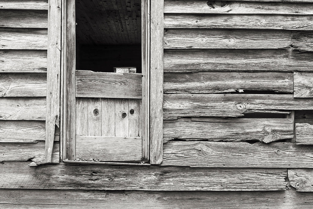Selenium toned black and white photograph of the side of an abandoned house featuring an extraordinary amount of detail in the grain of the weathered wood.  This is an actual darkroom-style print on silver gelatin fiber-based paper, which has then been chemically toned with a 1:9 selenium toning solution. Selenium toning subtly alters the color and tones of the black and white print, and also adds to the overall longevity by making it more archivally stable.