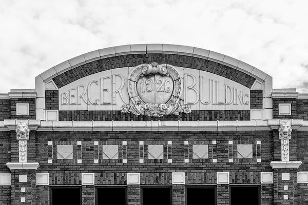 Black and white photograph of architectural details on the front of the Berger Building in Nashville, dated 1926.