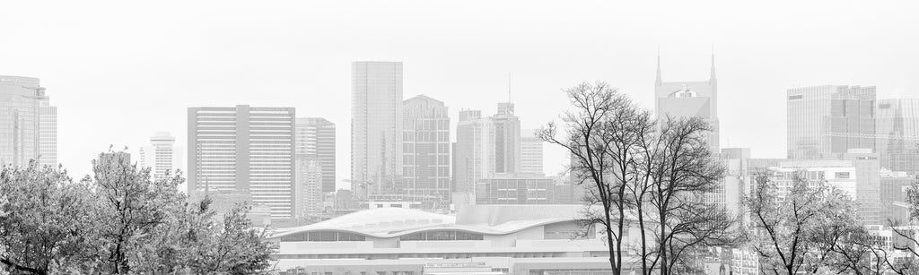 Black and white panorama photograph of downtown Nashville, photographed on a cold, misty morning.