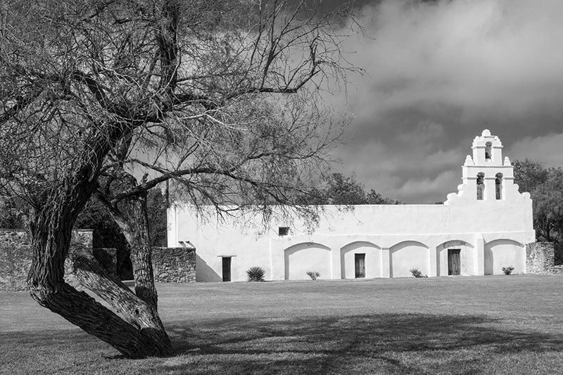 Black and white photograph of the old Spanish Mission San Juan in San Antonio, Texas.