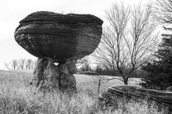 Black and white fine art photograph of a mushroom rock formation among other unusual rocks in the American prairie landscape.