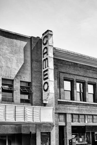 Vintage Cameo Theater Marquee in Bristol Virginia - Black and White Photograph (DSC00907)