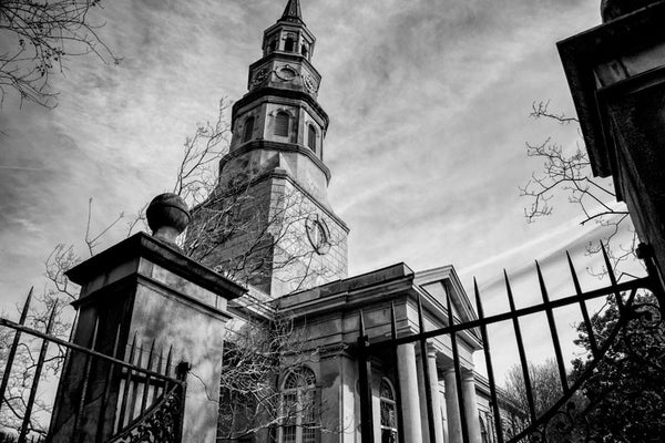 Black and white photograph of the historic St. Philips Episcopal Church in the French Quarter of Charleston.