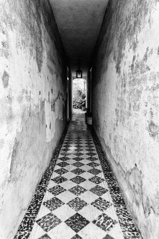 Black and white photograph of a passage way that leads to a private courtyard in the beautiful French Quarter section of Charleston, South Carolina.