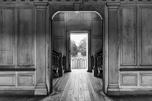 Black and white photograph of the interior of Drayton Hall, with the rear doors open, revealing a view of the nearby Ashley River. Drayton Hall was built about 1740, and was held in the same family for most of its existence, having had very little work done. That means visitors see original woodwork, mostly original plaster ceilings, and even the peeling wall paint is very old.