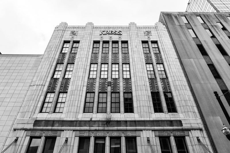 Black and white photograph of the historic downtown Kress building, an Art Deco retail store built in 1935. Part of the S.H. Kress five-and-ten-cent store chain, the Nashville location was a target of a customer boycott over its segregationist practices in the 1960s, leading to integration within the store well before the other pats of the country.
