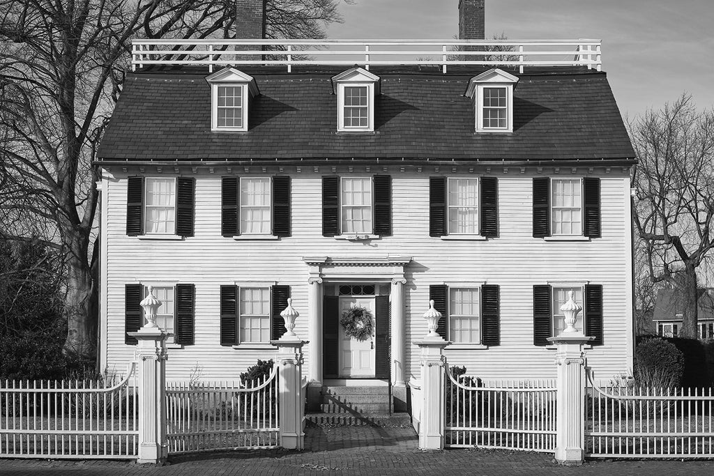"Black and white photograph of the Ropes Mansion, built for merchant Samuel Bernard in Salem, Massachusetts in the 1720s. The house is best known as Allison's house in the Disney Halloween movie ""Hocus Pocus"""