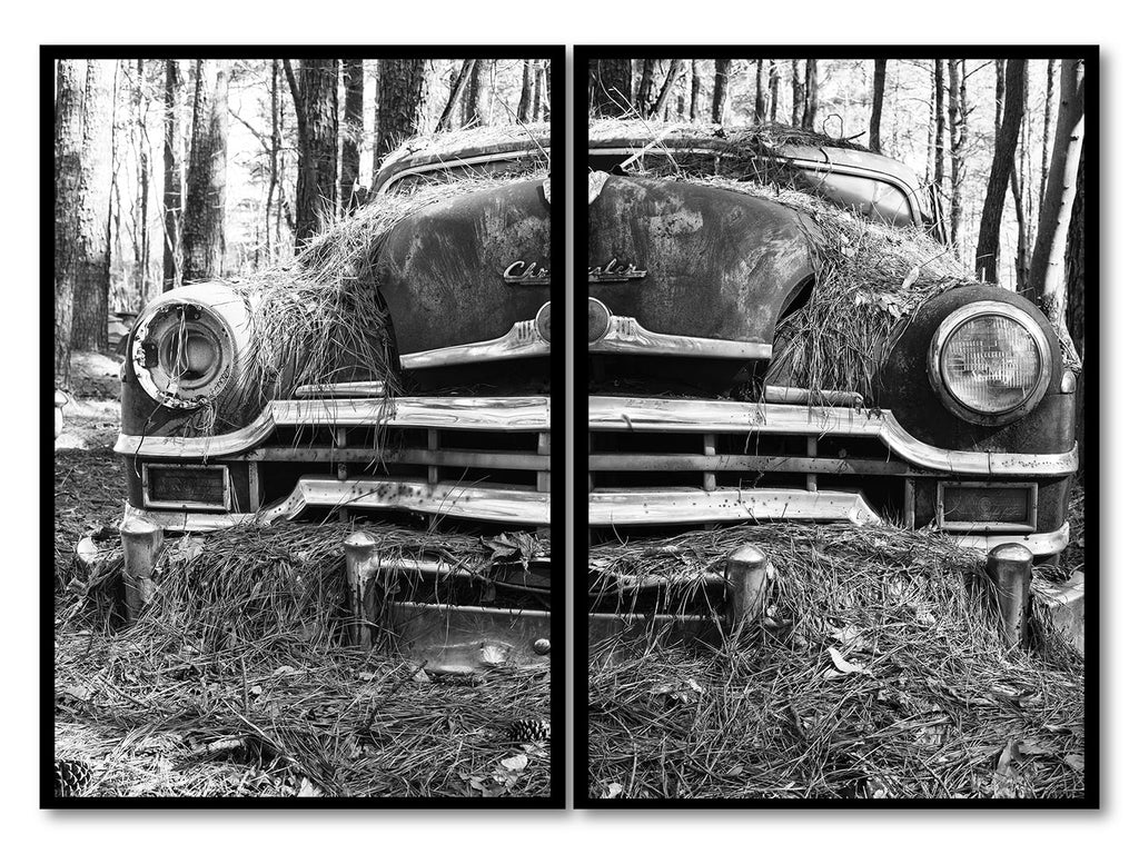 Set of two black and white photographs of a beautifully rusting antique car that's been long ago forgotten to the woods. It once was an expensive dream car for some lucky family.