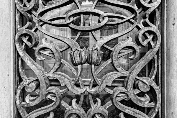 Black and white detail photograph of the ornate ironwork window screens on the front of the historic Farmers and Exchange Bank in Charleston, built in 1853-54.